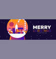 christmas and new year banner city in snowglobe vector image vector image