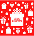 christmas greeting background with gifts on red vector image vector image