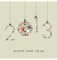 Christmas icons hanging 2013 new year vector image