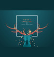 christmas new year 3d low poly copper deer head vector image