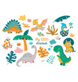 collection cute baby dinosaurs vector image