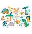 collection cute badinosaurs vector image