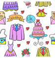 collection stock of wedding party style doodles vector image vector image