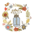 Colorful card with flowers in a jar and floral vector image