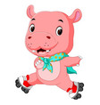 cute hippo playing roller skates vector image vector image