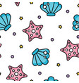 cute shell and starfish sea pastel pattern on vector image vector image