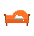 cute white cat lying on an orange sofa home pet vector image