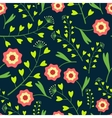Dark Pattern with Flowers and Grass vector image vector image