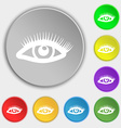 eyelashes icon sign Symbol on eight flat buttons vector image vector image