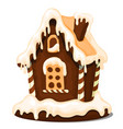 festive cake in shape village house decorated vector image