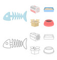 fish bone container for an animal cat toilet vector image vector image
