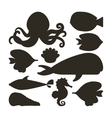 fish oyster octopus whale shell and sea horse icon vector image vector image