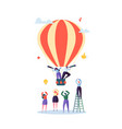flat business people flying on air balloon vector image vector image