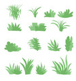 flat grasses set bush set with isolated white vector image vector image