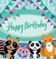 Funny animals Owl fox raccoon panda Happy birthday vector image vector image