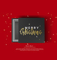 gift box with merry christmas sign top view on vector image vector image