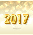 golden 2017 lettering in 3d style on bokeh vector image vector image