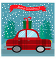 greeting christmas card with retro car with gift vector image vector image
