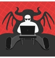 Hacker and Cmputer Devil vector image vector image