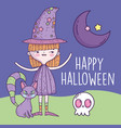 happy halloween celebration girl with hat witch vector image vector image