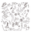 healthy lifestyle hand drawn set collection vector image vector image