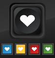 Heart Love icon symbol Set of five colorful vector image vector image