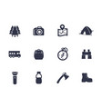 hiking camping icons on white vector image