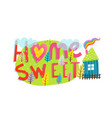 home sweet home lettering hand drawn sign vector image
