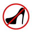 Icon prohibition shoes with heels vector image