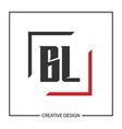 initial letter bl logo template design vector image