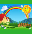 landscape with sun and rainbow vector image