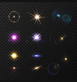 lens flares and twinkle set vector image vector image