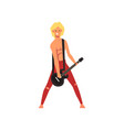 male rock musician playing guitar at open air vector image vector image
