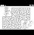 maze game with girl and boy at costume party vector image vector image