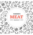 meat butchery signs round design template thin vector image