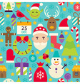 Merry Christmas Flat Design Blue Seamless Pattern vector image vector image