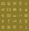 movie line color icons on brown background vector image vector image