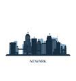 newark skyline monochrome silhouette vector image vector image