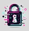 padlock glitch style cyber security emblem lock vector image