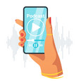 phone in female hand flat vector image