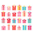 pink flat gift boxes for valentines day vector image