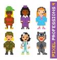 Pixel art style professions set 4 vector image vector image