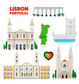 portugal lisbon travel set with architecture vector image