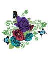 roses and butterflies ornament vector image vector image