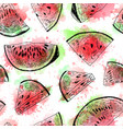 seamless watercolor pattern with watermelon vector image vector image