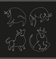 set bulls linaer stylized silhouettes of vector image vector image