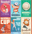 set of baseball posters in retro style vector image vector image