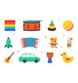 set with cute toys for little children on white vector image