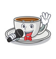 singing coffee character cartoon style vector image vector image