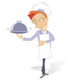 smiling cook holds a tray with food vector image vector image